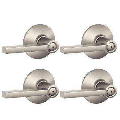 Latitude Satin Nickel Bed and Bath Lever (4-Pack)
