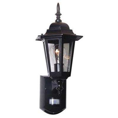 17.7 in. Black Motion Activated Outdoor Die-Cast Coach Lantern