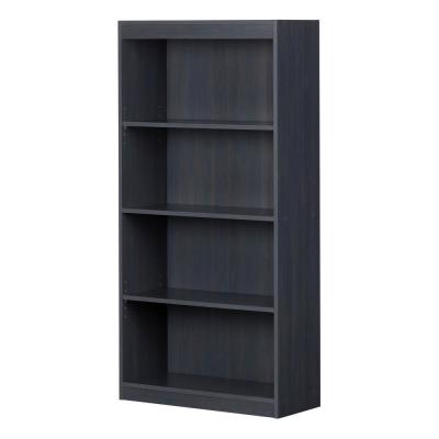56 in. Blueberry Faux Wood 4-shelf Standard Bookcase with Adjustable Shelves