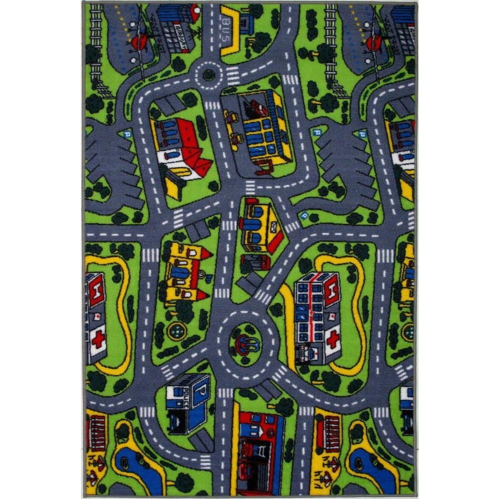 LA Rug Inc. Fun Time Driving Time Multi Colored 19 in. x 29 in. Accent Rug-DISCONTINUED
