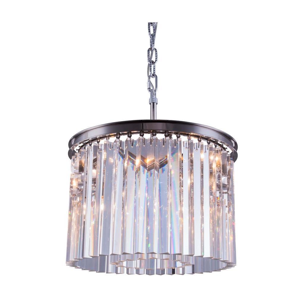 Elegant lighting sydney 6 light polished nickel chandelier with elegant lighting sydney 6 light polished nickel chandelier with clear crystal aloadofball Image collections
