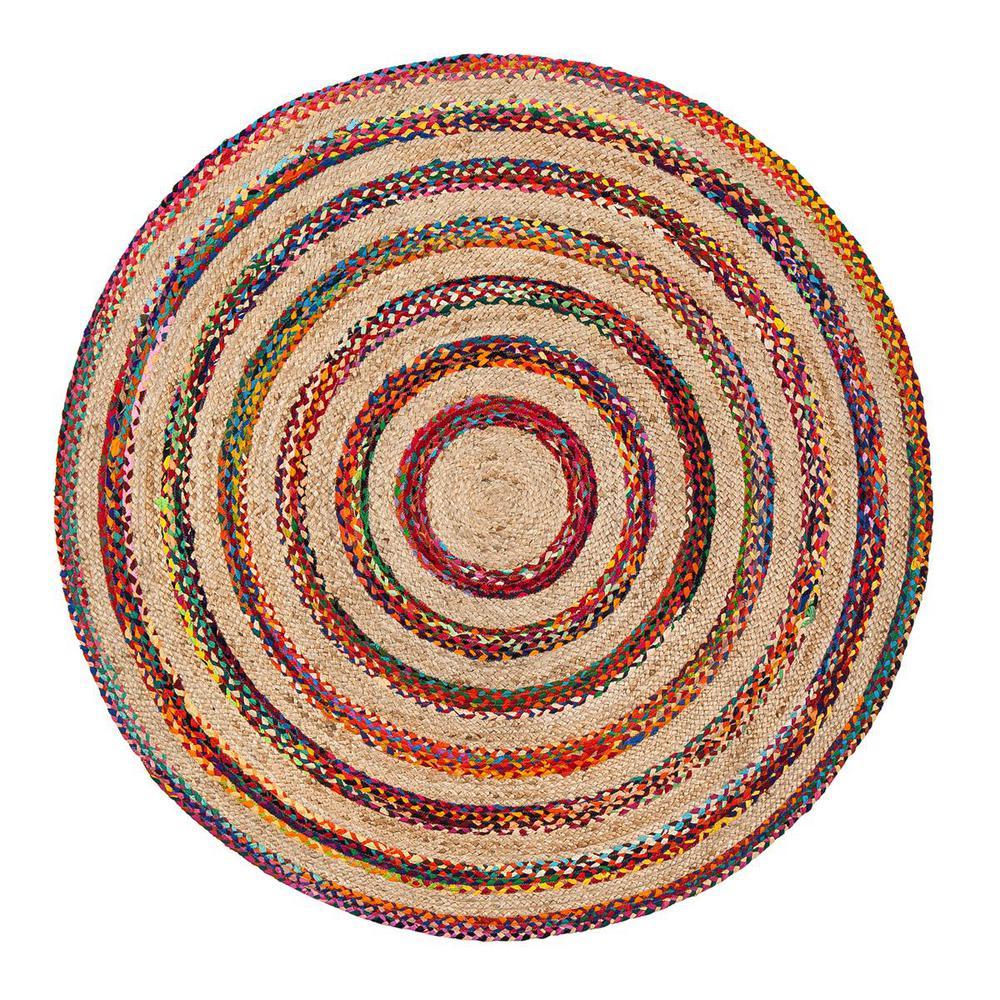 Akumal Multicolored 6 ft. Round Area Rug