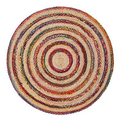 Akumal Multicolored 6 ft. Round Area Rug