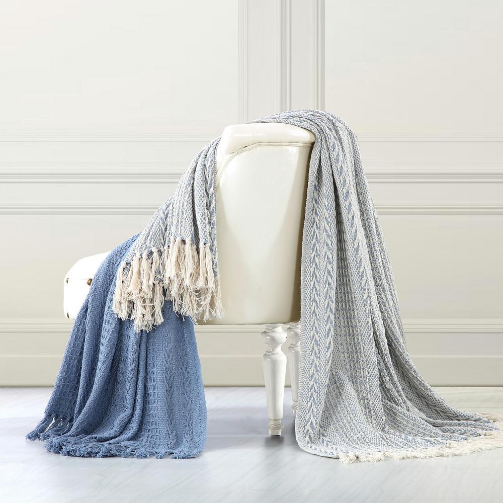 Amrapur Overseas 2-Pack Batik Dusty Blue 100% Cotton Throw 5CNTBTKG-DBL-ST
