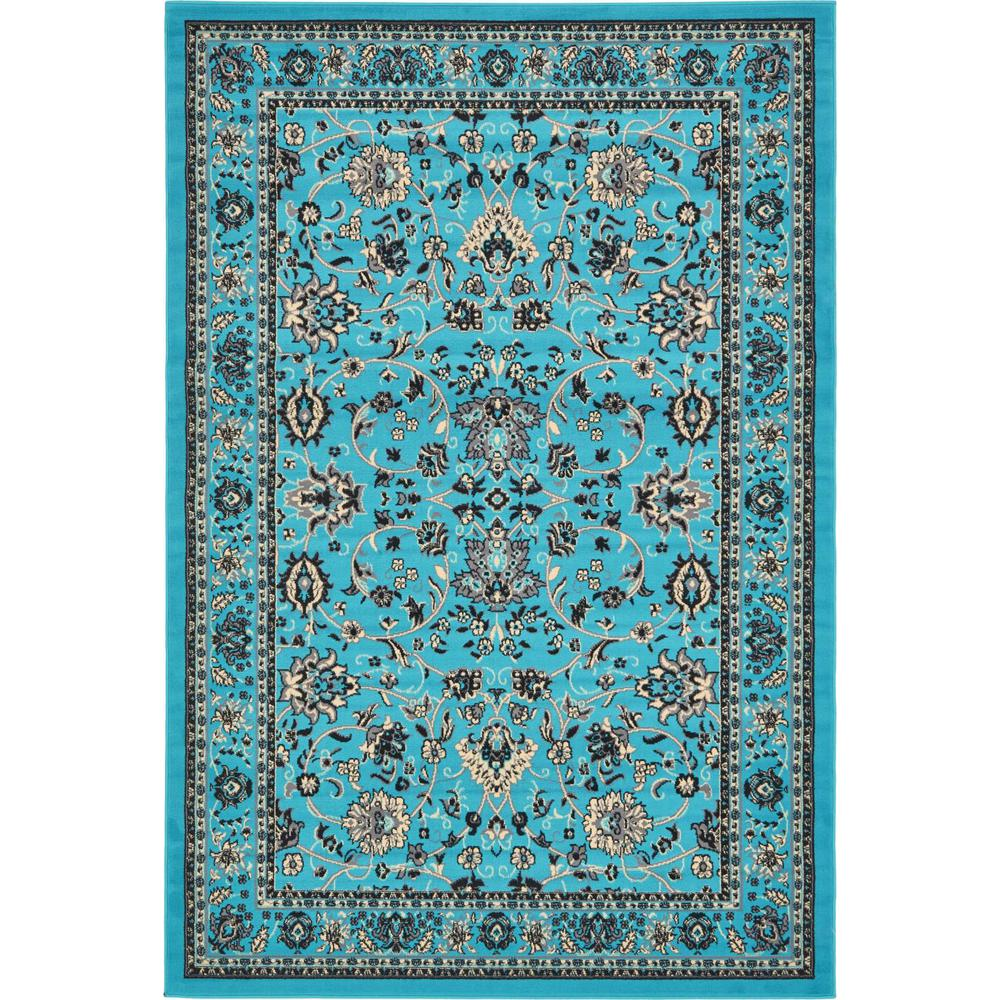 Linoleum Rug Turquoise Terracotta Area Rug Or Kitchen Mat: Unique Loom Kashan Turquoise 6 Ft. X 9 Ft. Area Rug
