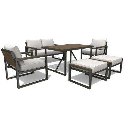 counter height outdoor dining set modern west park 6piece aluminum rectangle outdoor dining set with white cushions counter height bar sets