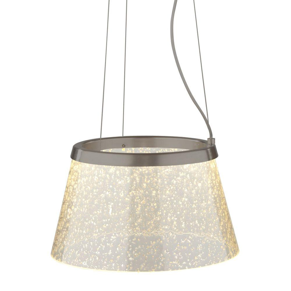 LBL Lighting Duke 1-Light Bronze Clear LED Hanging Pendant with Silver Mica Suspension