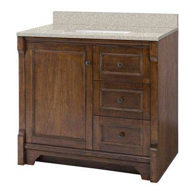 Creedmoor 37 in. W x 22 in. D Vanity in Walnut with Engineered Marble Vanity Top in Sedona with White Sink