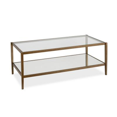 Wilda Coffee Table in Brass with Mirrored Shelf
