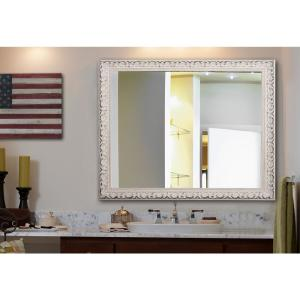 60 In X 40 French Victorian White Non Beveled Vanity Wall Mirror