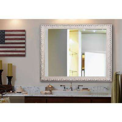 60 in. x 40 in. French Victorian White Non Beveled Vanity Wall Mirror