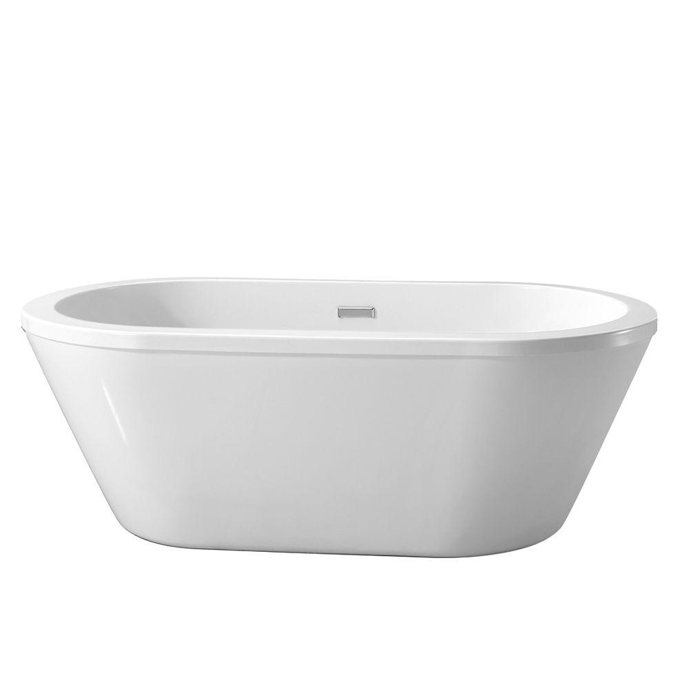 Elegant Center Drain Freestanding Bathtub In Glossy White