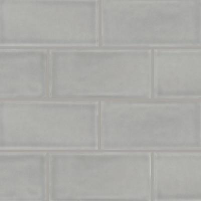 Morning Fog 3 in. x 6 in. Handcrafted Glossy Ceramic Gray Subway Tile (1 sq. ft. / case)