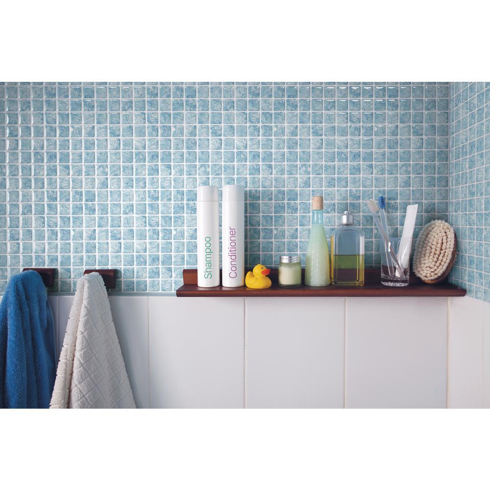 Tic Tac Tiles Vetro Aqua 10 in. W x 10 in. H Light Blue Peel and ...