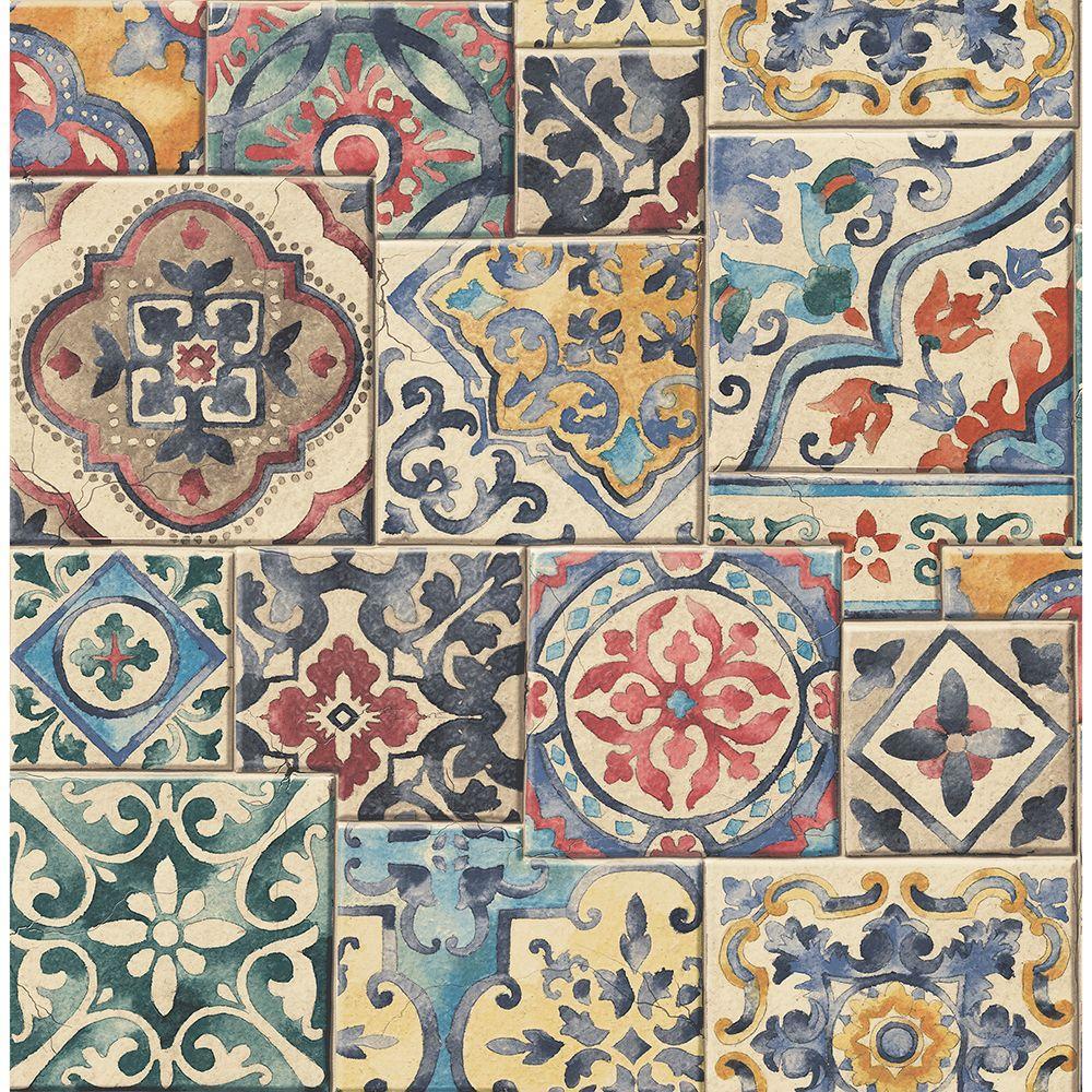 Marrakesh Tiles Multi Mosaic Multicolor Wallpaper Sample