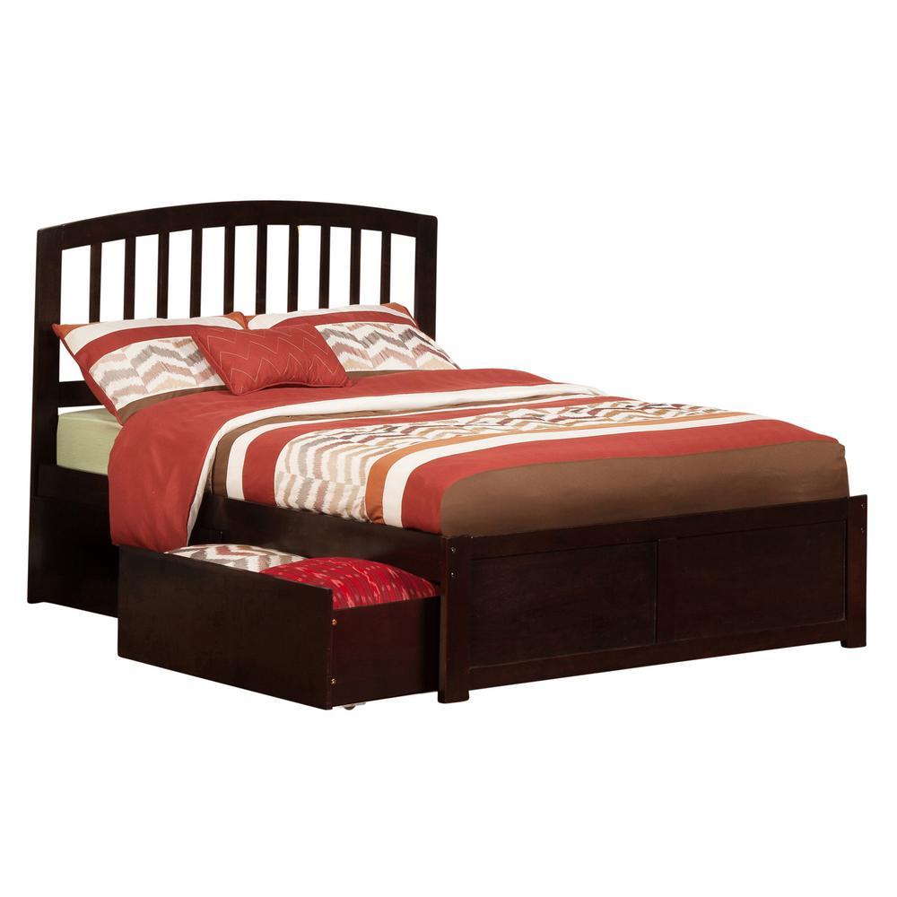 Atlantic furniture richmond espresso full platform bed with flat panel foot board and 2 urban
