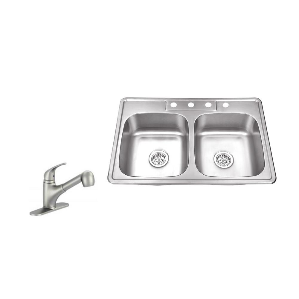 4 Hole Stainless Steel Kitchen Sink In Brushed With Low Profile Pull Out Faucet