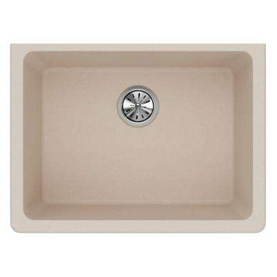 Quartz Classic Undermount Composite 25 in. Single Bowl Kitchen Sink in Putty