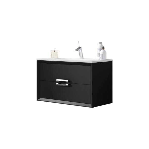 Decor Tirador 32 in. W x 18 in. D Bath Vanity in Black with Ceramic Vanity Top in White with White Basin and Sink
