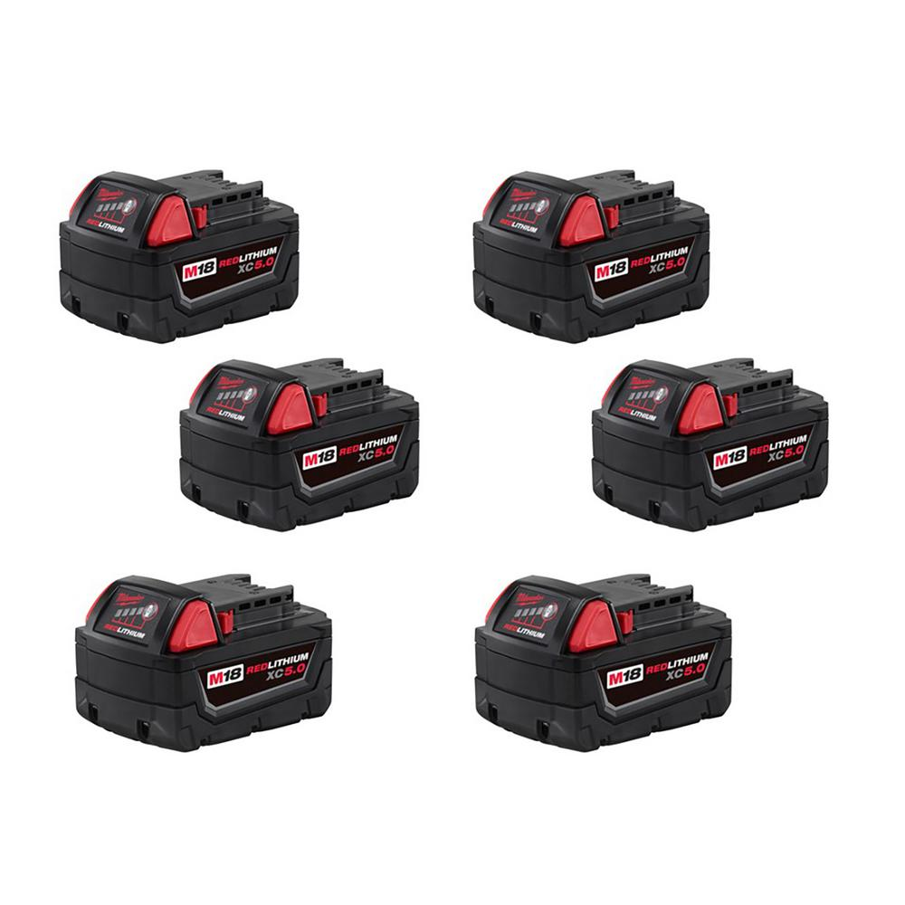 Milwaukee M18 18-Volt Lithium-Ion XC Extended Capacity Battery Pack 5.0Ah (6-Pack)