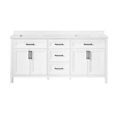 Mayfield 72 in. W x 22 in. D Bath Vanity in White with Cultured Marble Vanity Top in White with White Basin