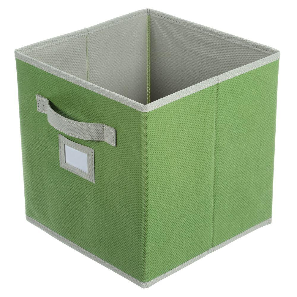 Green fabric drawer cube storage furniture organizer for Fabric storage
