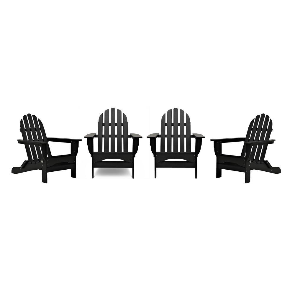 Icon Black 4-Piece Plastic Adirondack Patio Seating Set