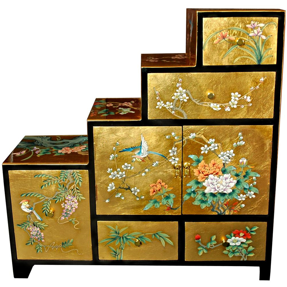Superbe Oriental Furniture Gold Leaf Step Tansu Cabinet