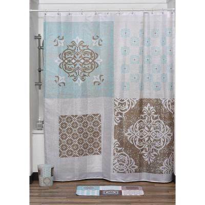 71 in. W x 79 in. H Faience Printed Polyester Fabric Shower Curtain