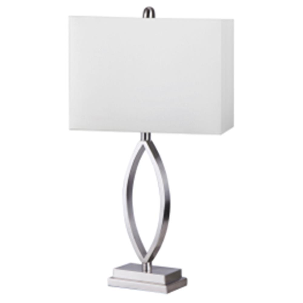25 in. Brushed Steel Table Lamp with White Nylon Shade