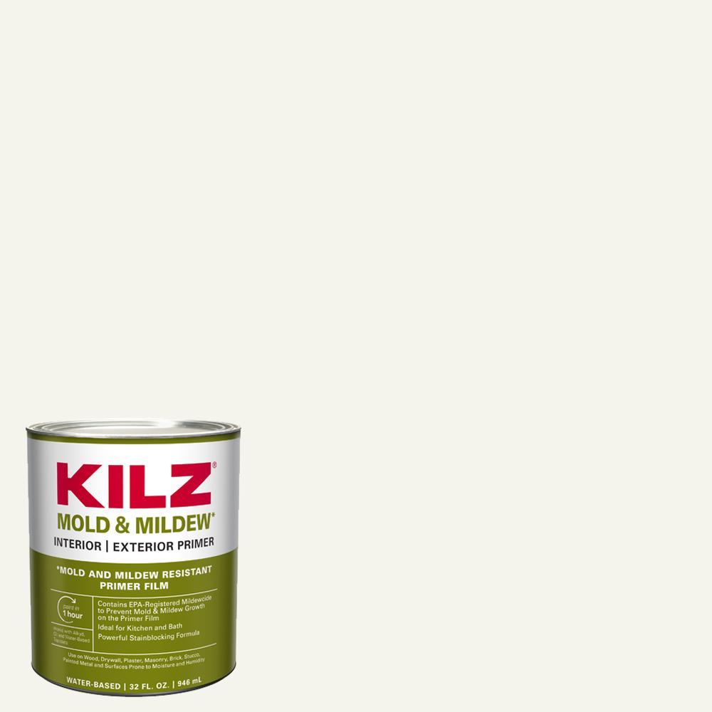 KILZ Mold and Mildew 1 qt. White Water Based Interior and Exterior Primer, Sealer and Stain-Blocker
