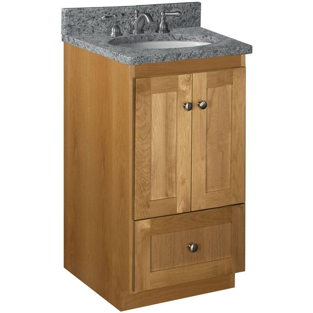 Shaker 18 in. W x 21 in. D x 34.5 in. H Vanity Cabinet Only in Natural Alder