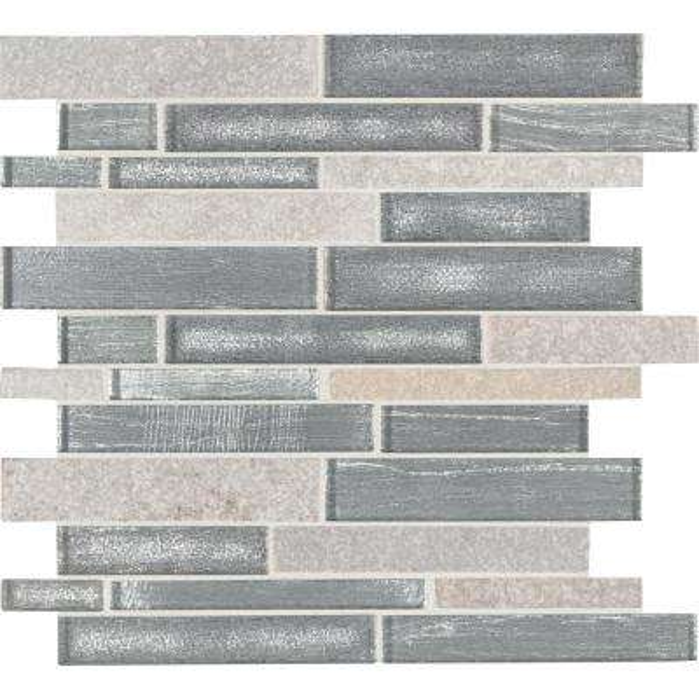 Evita Ice Interlocking 12 in. x 11.75 in. x 8mm Glass Stone Mesh-Mounted Mosaic Tile