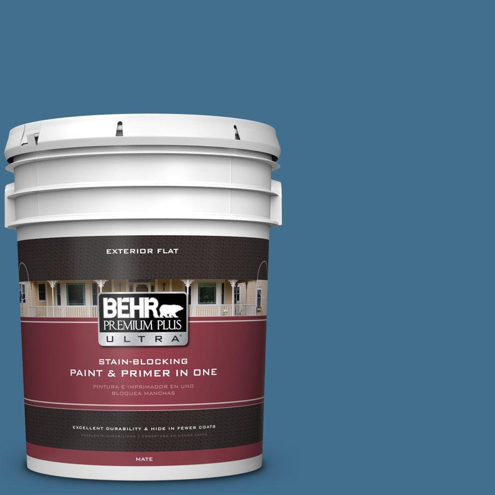 BEHR Premium Plus Ultra 5-gal. #M500-5 Sojourn Blue Flat Exterior Paint