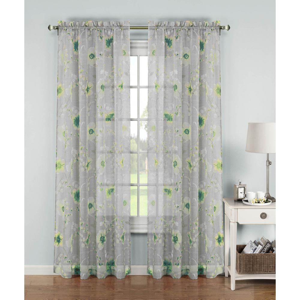 Window Elements Sheer Pamela Printed Sheer Extra Wide 54 in. W x 84 in. L Rod Pocket Curtain Panel in Yellow/Turquoise