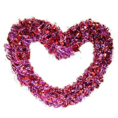 17 in. Valentine Pink Tinsel Curly Wreath