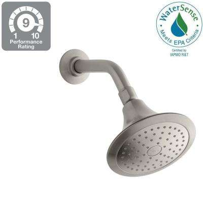 Forte 1-Spray Single Function 5-1/2 in. Fixed Shower Head in Vibrant Brushed Nickel