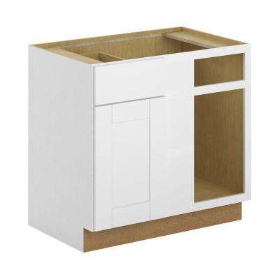 Princeton Shaker Assembled 36x34.5x24 in. Blind Corner Base Cabinet in Warm White