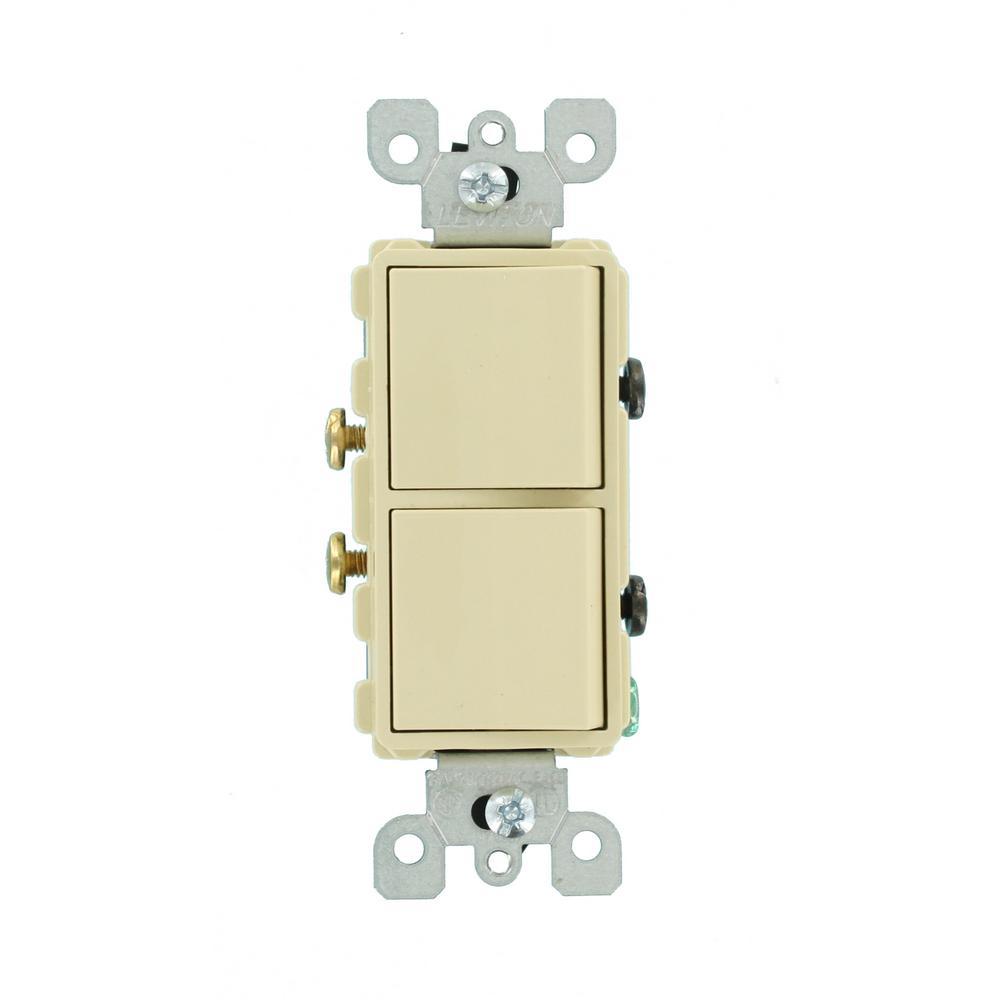 Leviton Decora 15 Amp Single Pole Dual Rocker Switch, Ivory