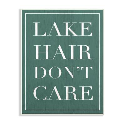 """13 in. x 19 in. """"Teal Lake Hair Don't Care Typography"""" by Daphne Polselli Wood Wall Art"""