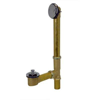 Twist and Close 1-1/2 in. 20-Gauge Brass Pipe Bath Waste and Overflow Drain in Chrome
