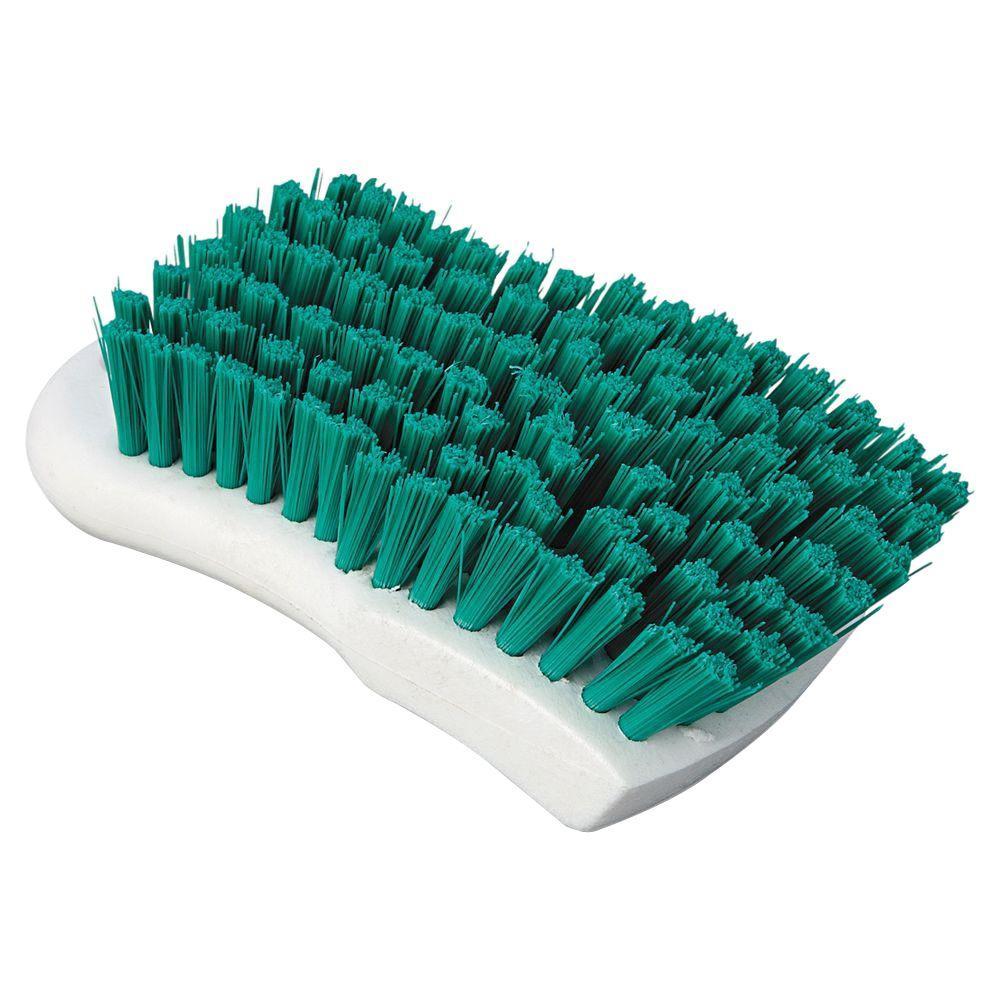 6 in. Green Polypropylene Bristle Scrub Brush with White Handle