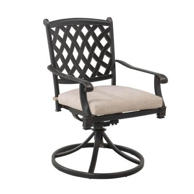 Cahill Black Swivel Aluminum Outdoor Dining Chair with Beige Cushion (2-Pack)