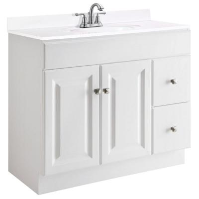 Wyndham 36 in. W x 21 in. D Unassembled Bath Vanity Cabinet Only in White Semi-Gloss