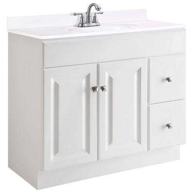 Wyndham 36 in. W x 21 in. D Unassembled Vanity Cabinet Only in White Semi-Gloss