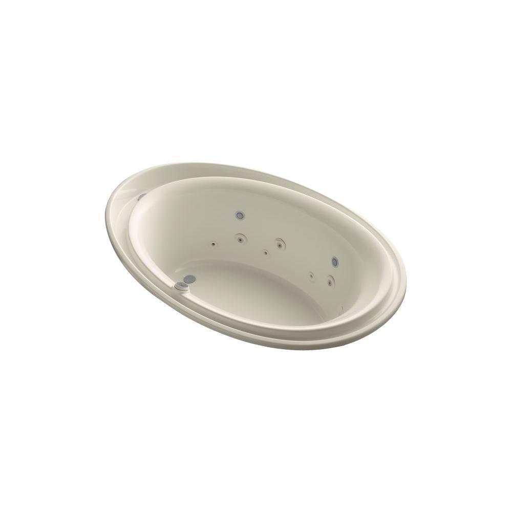 KOHLER Purist 6 ft. Acrylic Oval Drop-in Whirlpool Bathtub in Almond