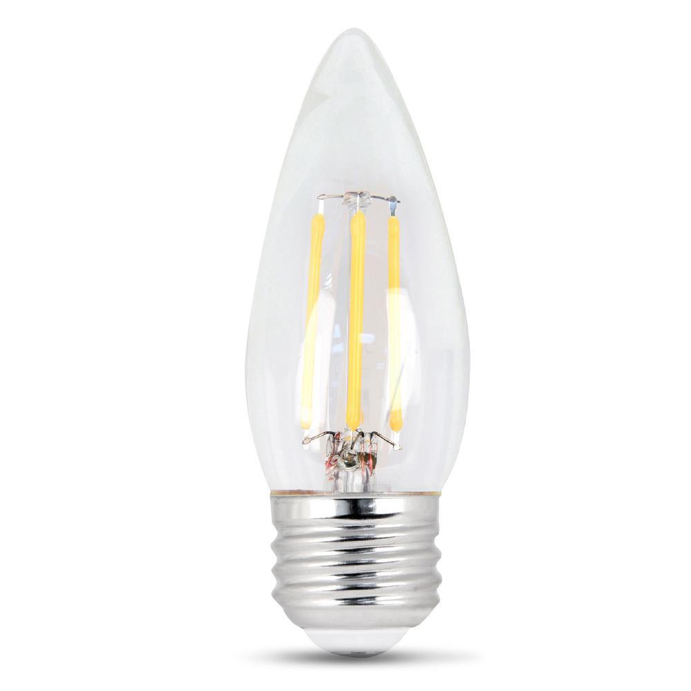 25W Equivalent Soft White (2700K) B10 Dimmable Filament LED Medium Base Clear Light Bulb