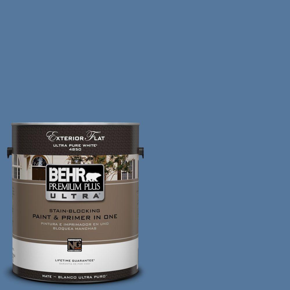 BEHR Premium Plus Ultra 1-Gal. #UL230-4 Glass Sapphire Flat Exterior Paint