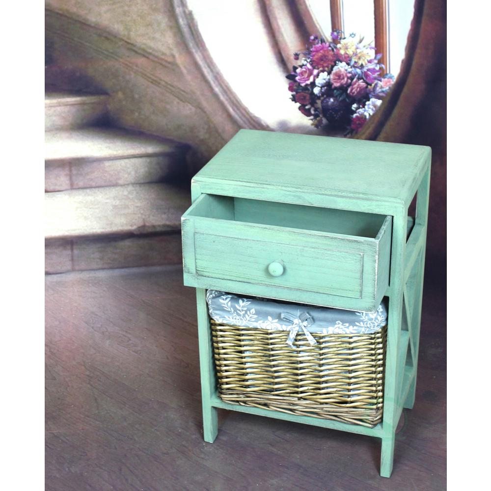 Superbe Vintiquewise Distressed Green Wash End Table