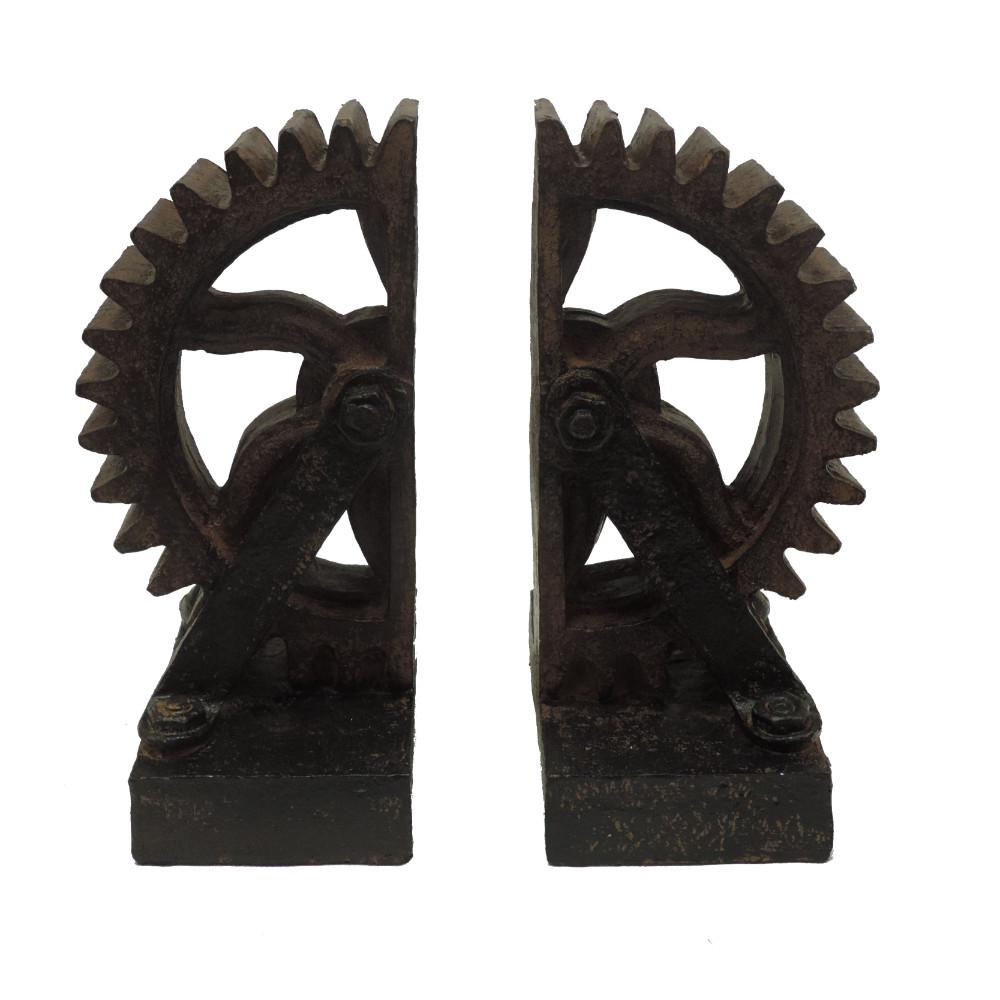Old Style Rustic Black Polyresin Gear Bookends